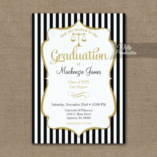 Law School Graduation Announcement Invitations PRINTED