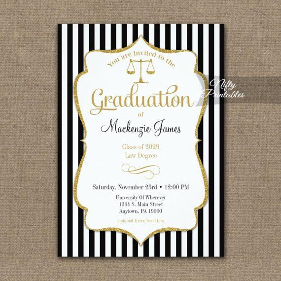 Law School Graduation Announcement Invitation PRINTED