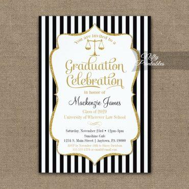 Law School Graduation Party Invitation PRINTED