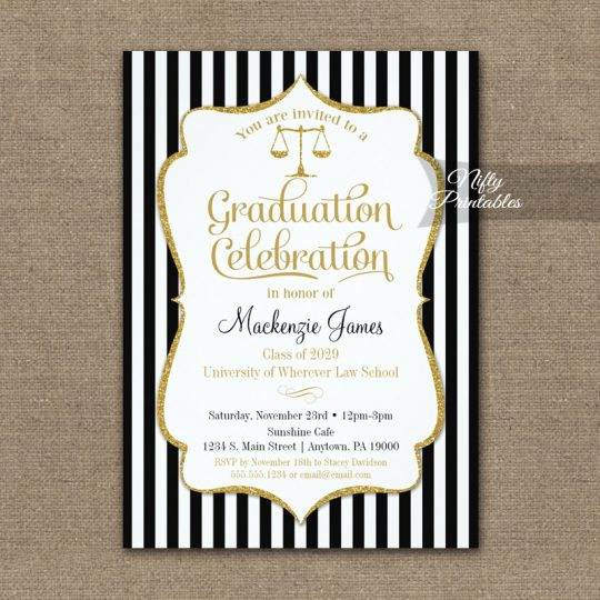 Law School Graduation Party Invitations PRINTED