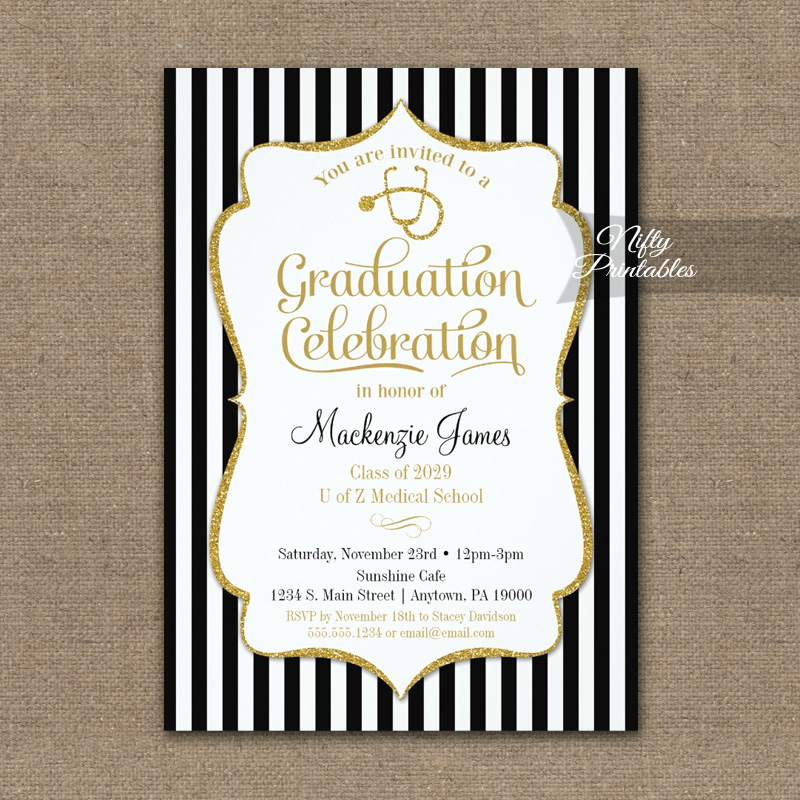 Choose Our Gold Foil Crest Medical School Graduation Invitation To Announce Your Recent Academic Achievement This Postcard Shaped Is