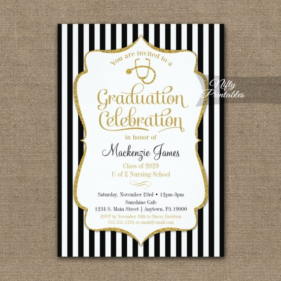 Nursing School Graduation Party Invitation PRINTED