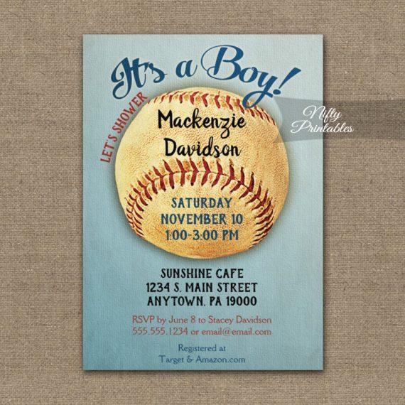 Baseball Baby Shower Invitation Vintage Boy Sports PRINTED