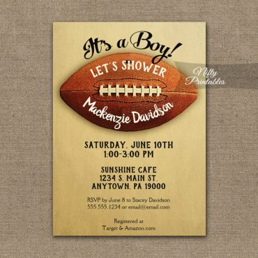 Football Baby Shower Invitations Vintage Boy Sports PRINTED
