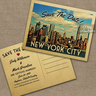 New York City Save The Date Manhattan NYC PRINTED