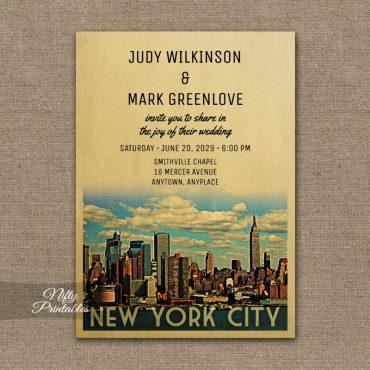 New York City Wedding Invitation Manhattan NYC PRINTED