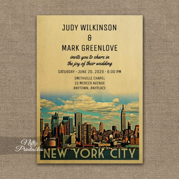 New York City Wedding Invitation Manhattan NYC PRINTED