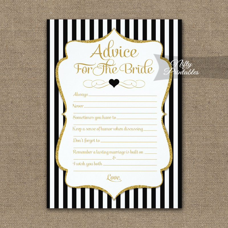 Advice For The Bride Game Black Gold PRINTED
