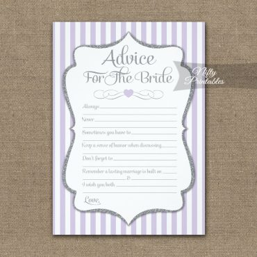 Advice For The Bride Game Lilac Lavender Gray PRINTED