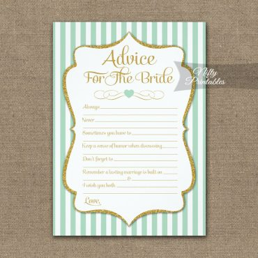 Advice For The Bride Game Mint Green Gold PRINTED