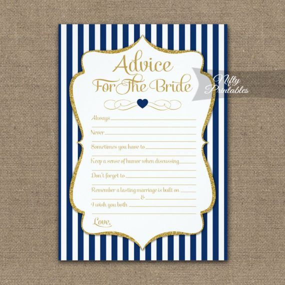 Advice For The Bride Game Navy Blue Gold PRINTED