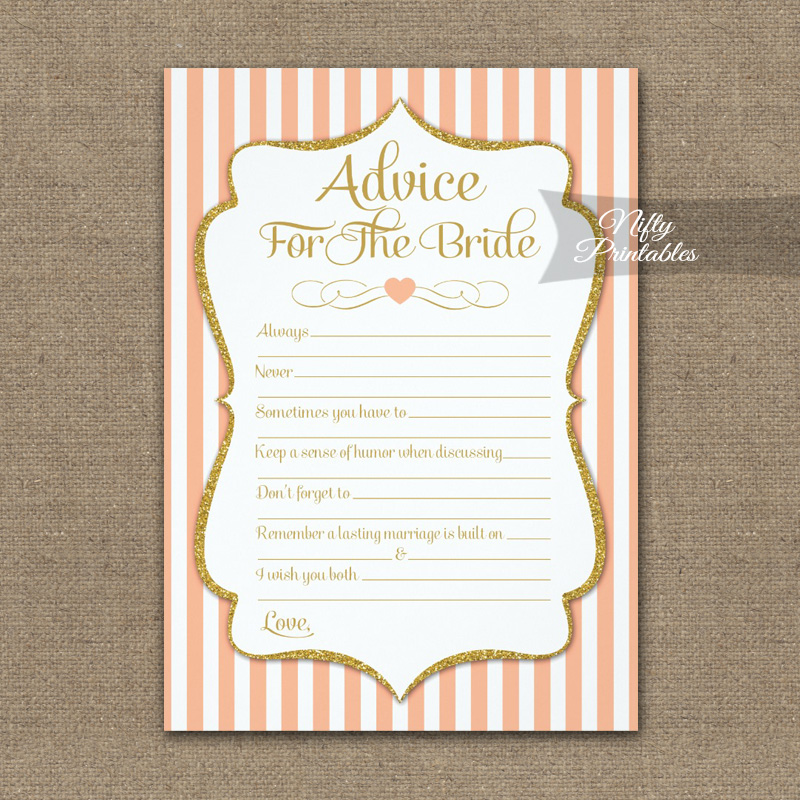 Advice For The Bride Game Peach Gold PRINTED