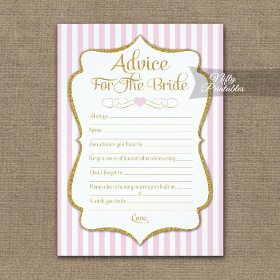 Advice For The Bride Game Pink Gold PRINTED