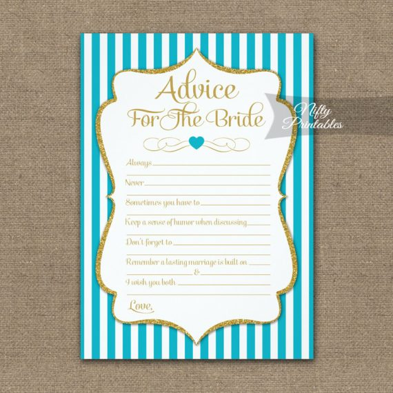 Advice For The Bride Game Turquoise Gold PRINTED