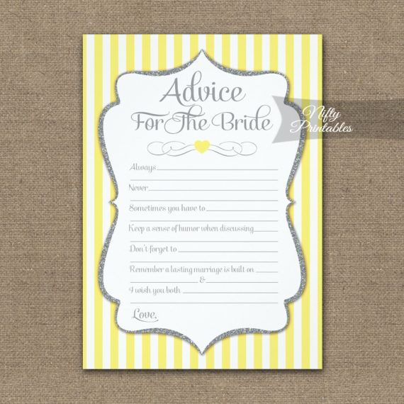 Advice For The Bride Game Yellow Gray PRINTED