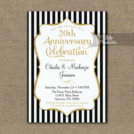 Black Gold Anniversary Invitation Elegant Stripes PRINTED
