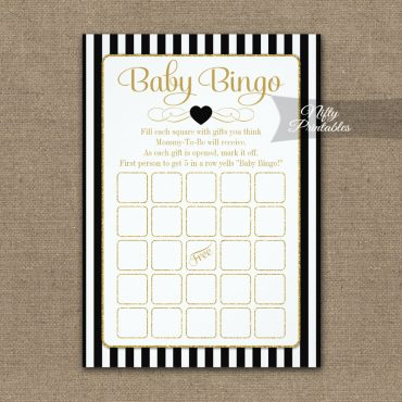 Baby Bingo Game Black Gold PRINTED