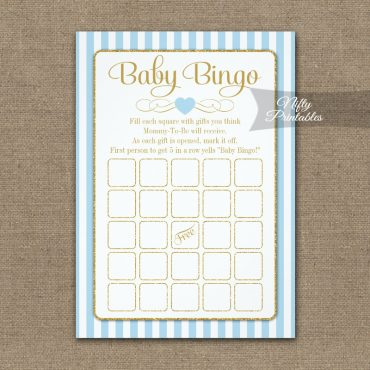 Baby Bingo Game Light Blue Gold PRINTED