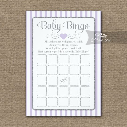 Baby Bingo Game Lilac Lavender Gray PRINTED