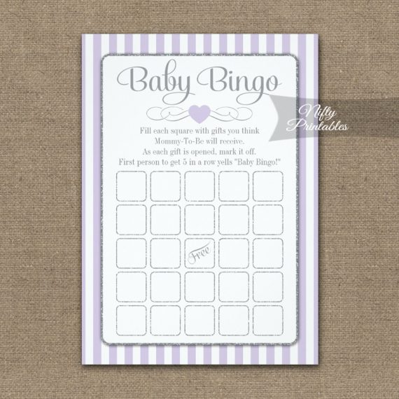 Baby Bingo Game Lilac Lavender Gray PRINTED