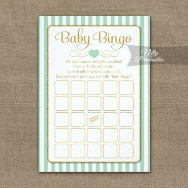 Baby Bingo Game Mint Green Gold PRINTED