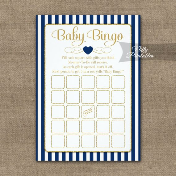 Baby Bingo Game Navy Blue Gold PRINTED