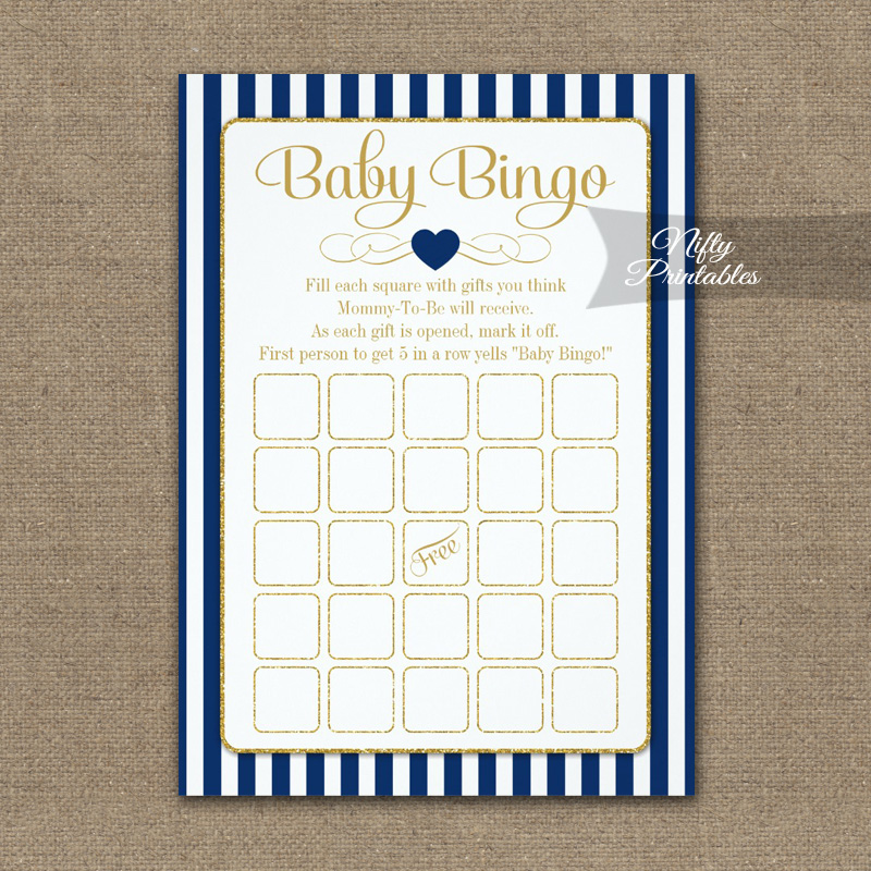 Baby Bingo Game Navy Blue Gold PRINTED