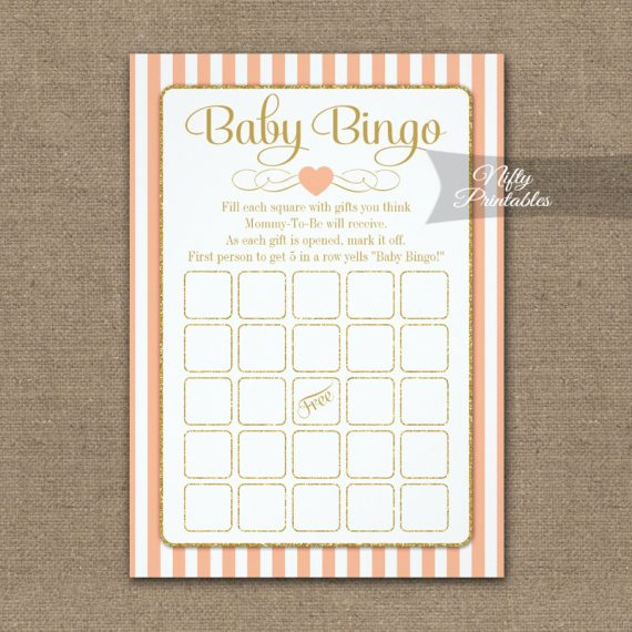 Baby Bingo Game Peach Gold PRINTED