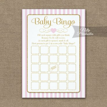 Baby Bingo Game Pink Gold PRINTED