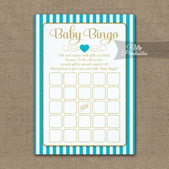 Baby Bingo Game Turquoise Gold PRINTED