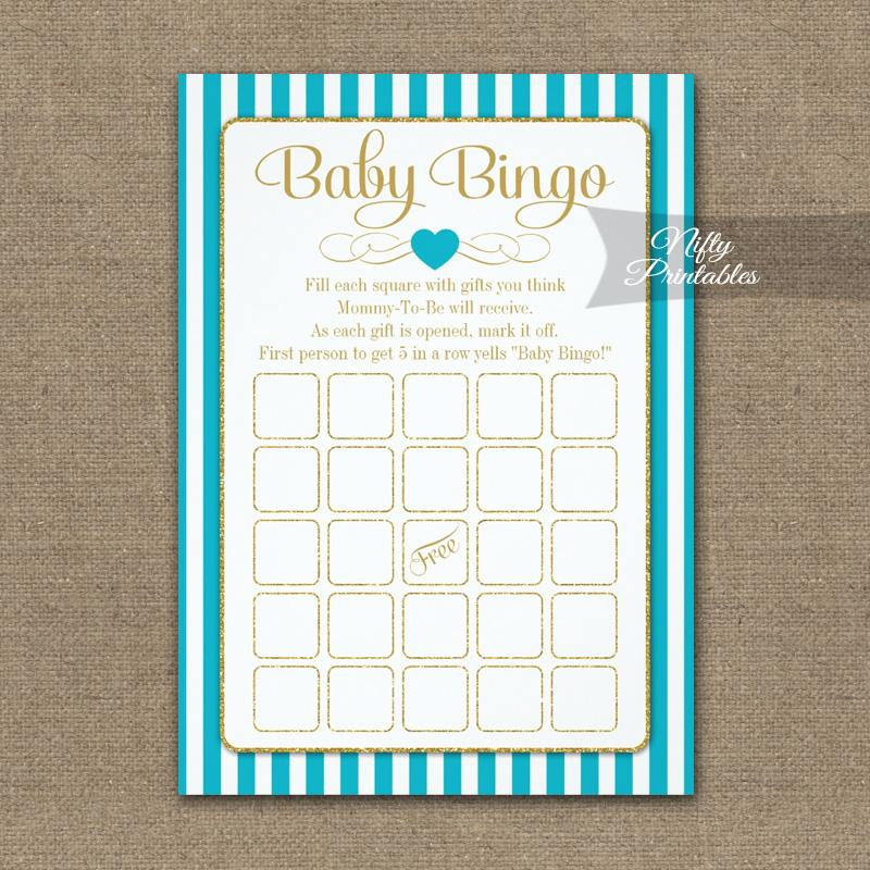 Baby Bingo Game Turquoise Gold PRINTED