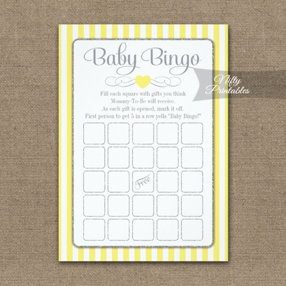 Baby Bingo Game Yellow Gray PRINTED