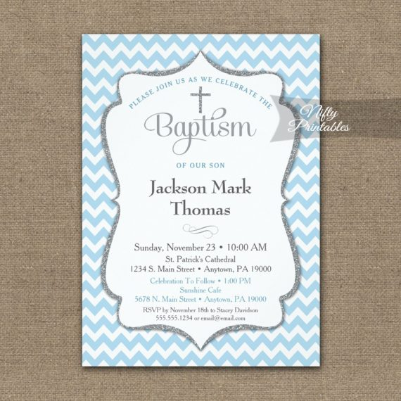 Baptism Invitation Blue Chevron Silver Gray PRINTED