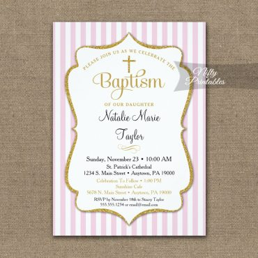 Pink Gold Baptism Invitation Girls Elegant Stripe PRINTED
