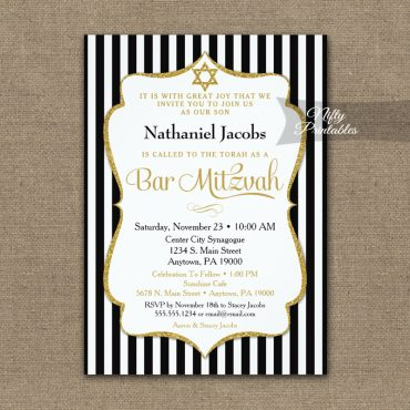 Black Gold Bar Mitzvah Invitations Elegant Stripe PRINTED