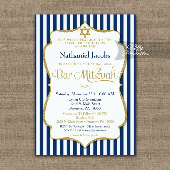 Navy Blue Gold Bar Mitzvah Invitation Elegant Stripe PRINTED