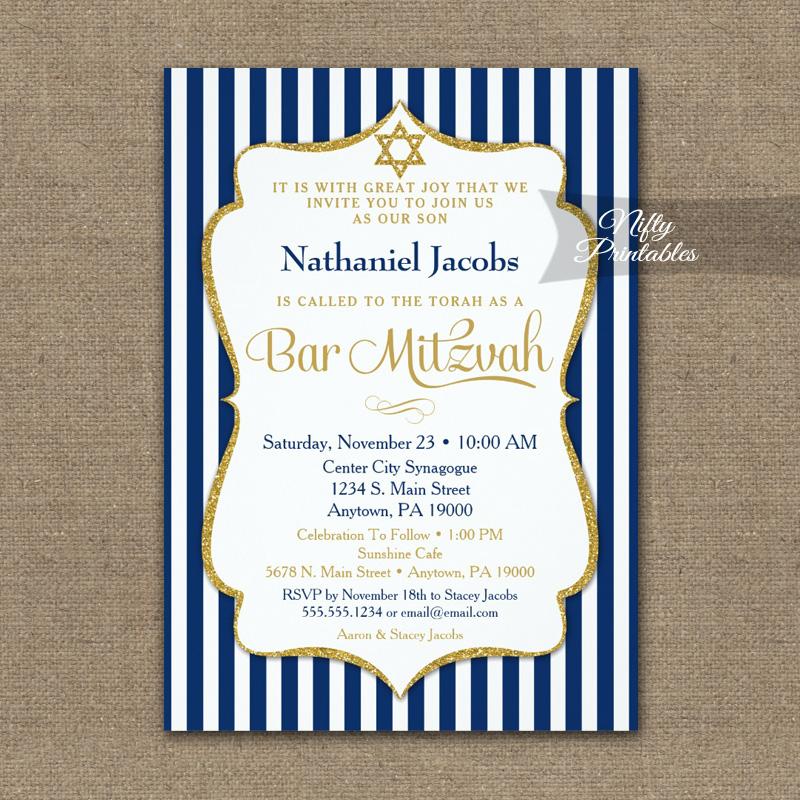 Navy Blue Gold Bar Mitzvah Invitation Elegant Stripe PRINTED