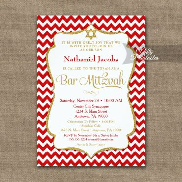 Red Gold Bar Mitzvah Invitation Elegant Chevron PRINTED