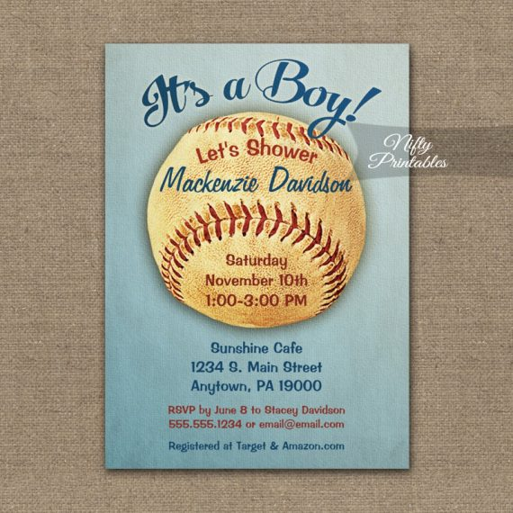 Baseball Baby Shower Invitation Vintage Boy Sports PRINTED