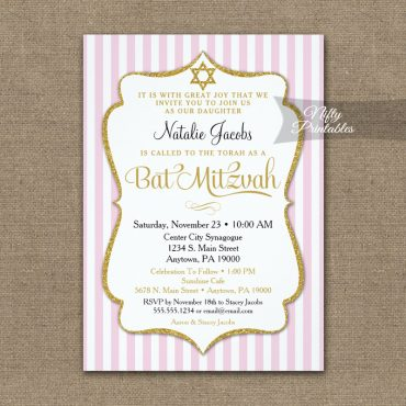 Pink Gold Bat Mitzvah Invitation Elegant Stripe PRINTED