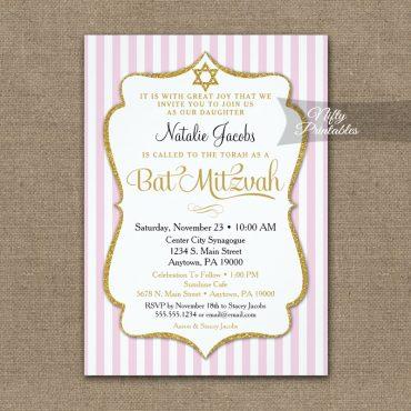 Pink Gold Bat Mitzvah Invitations Elegant Stripe PRINTED