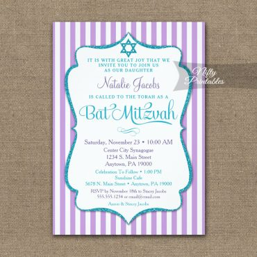 Purple Teal Turquoise Bat Mitzvah Invitation Elegant Stripe PRINTED