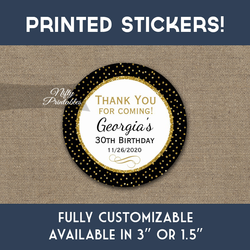 Birthday Stickers Black Gold Dot Thank You Favors PRINTED