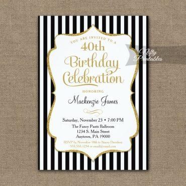 Black Gold Birthday Invitation Elegant Stripes PRINTED