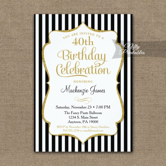 Black Gold Birthday Invitation Elegant Stripes PRINTED