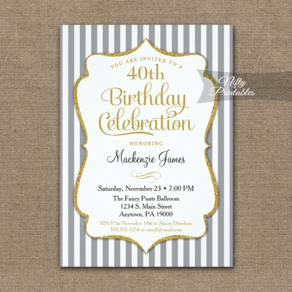 Gray Gold Birthday Invitation Elegant Stripes PRINTED