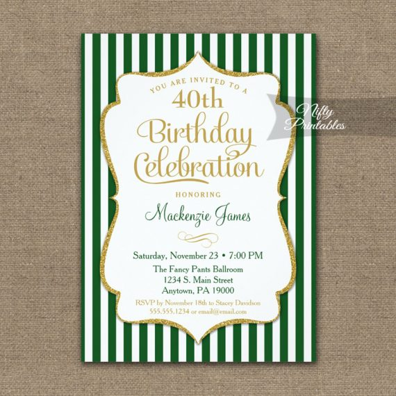 Green Gold Birthday Invitation Elegant Stripes PRINTED