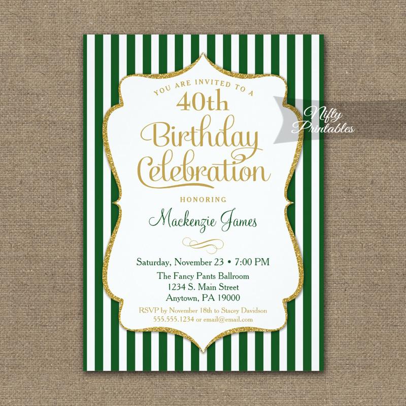 Green Gold Birthday Invitation Elegant Stripes PRINTED - Nifty ...