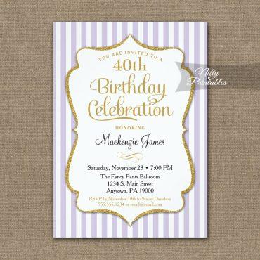 Lavender Lilac Gold Birthday Invitation Elegant Stripes PRINTED