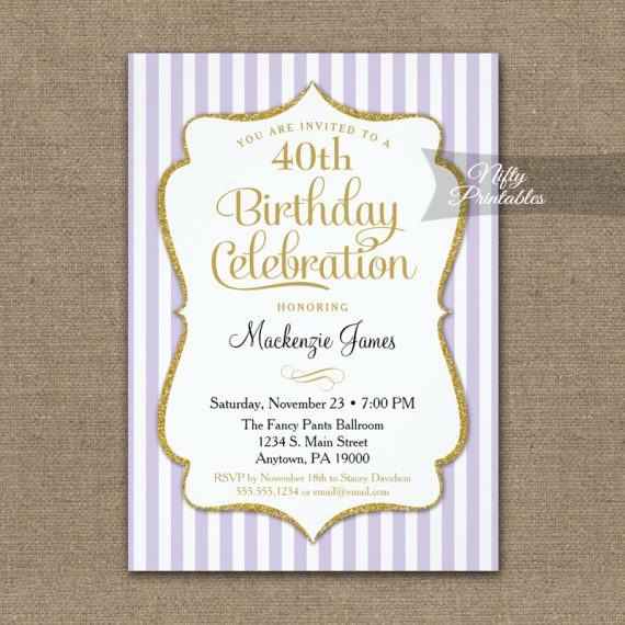 Lavender Lilac Gold Birthday Invitation Elegant Stripes PRINTED
